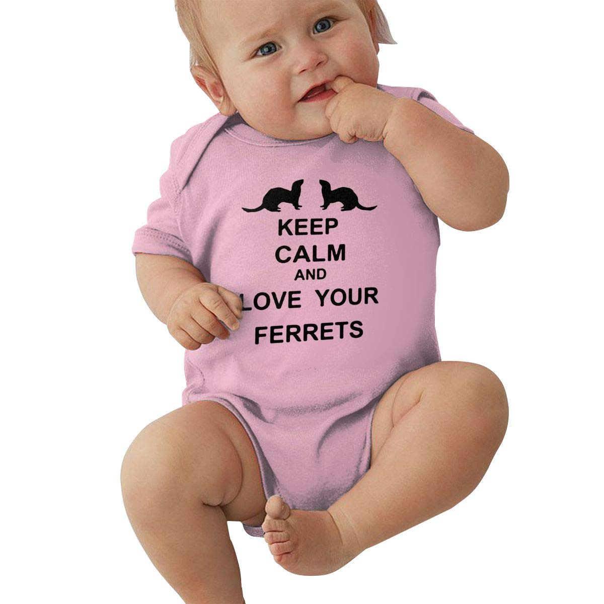 Infant Short Sleeve Jumpsuit Keep Calm and Love Your Ferrets Kid Pajamas