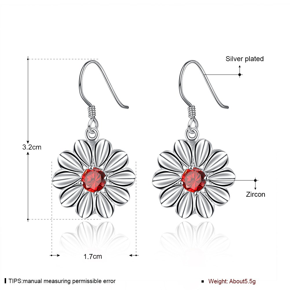MXYZB Silver Plated Daisy Flower Dangle Earrings Red Cubic Zirconia Jewelry for Women Girls by MXYZB (Image #3)
