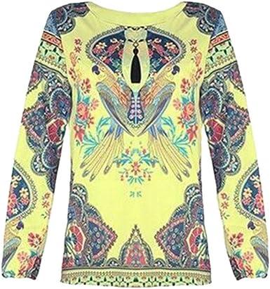FENICAL Blusa de Mujer Camisa Estampado de Flores Manga Larga Cuello Redondo Blusa de Gasa Casual Camisa Tops Camiseta para Mujer Damas Talla l (Blanco): Amazon.es: Ropa y accesorios