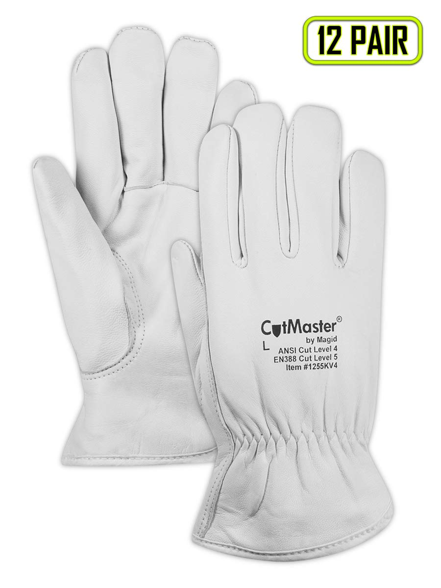 Magid Glove & Safety 1255KV4XXXL Cut Master 1255KV4 Arc-Rated Kevlar-Lined Leather Drivers Glove - Cut Level 4 NFPA 70E CAT 4, Pearl/White, 3XL, Para-aramid (Pack of 12)