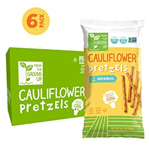 REAL FOOD FROM THE GROUND UP Vegan Pretzels - 6 Count (Cauliflower, Sticks)