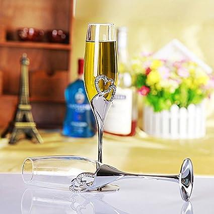 Elegante Copa de Champán Flauta Tostada/Copas de Champán. 25 Diamantes Decorados en Forma