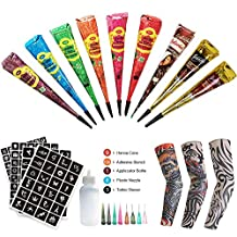 Henna Tattoo Kit Included 3pcs Temporary Tattoo Arm Sleeves, 9 Color Henna Tattoo Paste Cones With 159 x Adhesive Stencil, 1 Applicator Bottle and 8 Plastic Nozzle