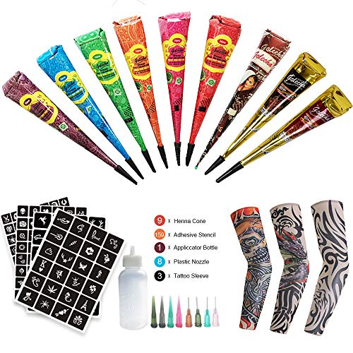 Henna Temporary Tattoo Kit Included 3pcs Temporary Tattoo Arm Sleeves, 9 Color Henna Tattoo Paste Cones With 159 x Adhesive Stencil, 1 Applicator Bottle and 8 Plastic Nozzle
