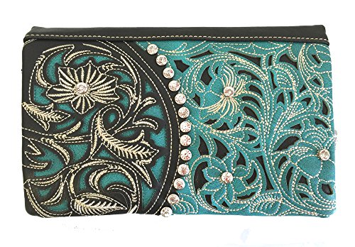(American Bling Montana West 4-Way Clutch Wristlet Crossbody Purse Turquoise )