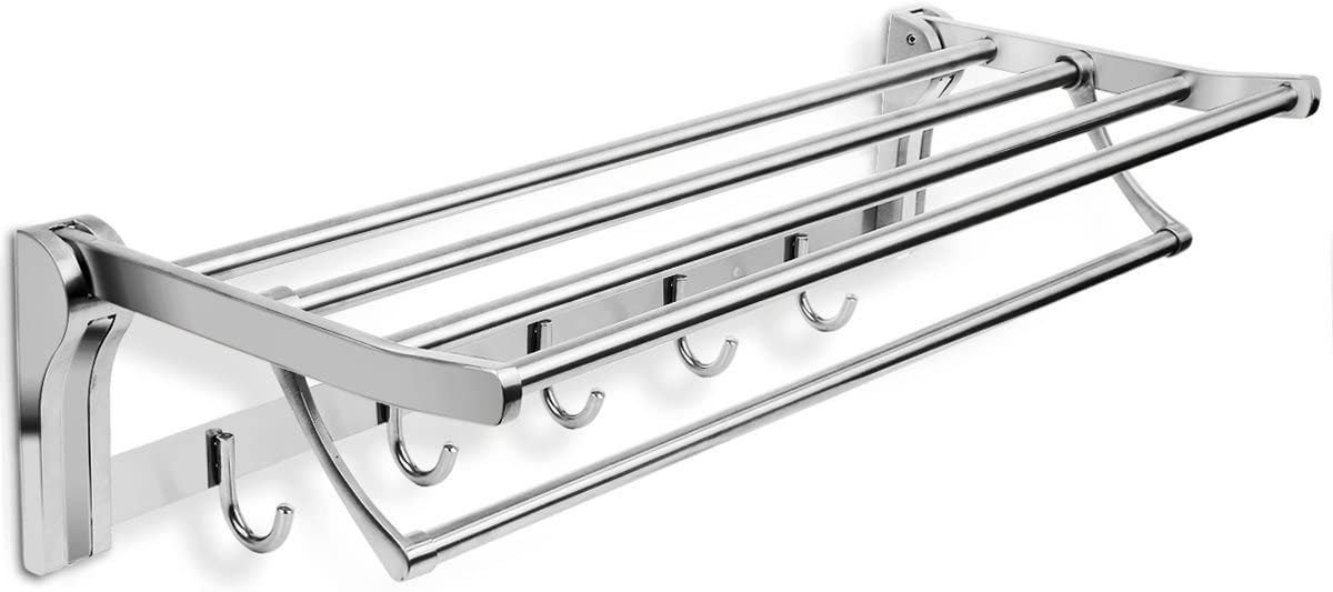Modern Brushed Nickel Dual-Arm Towel Bars Ensor Series