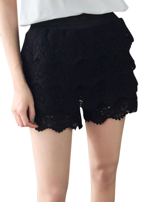 ACHICGIRL Women's Elastic Waist Floral Lace Solid Shorts