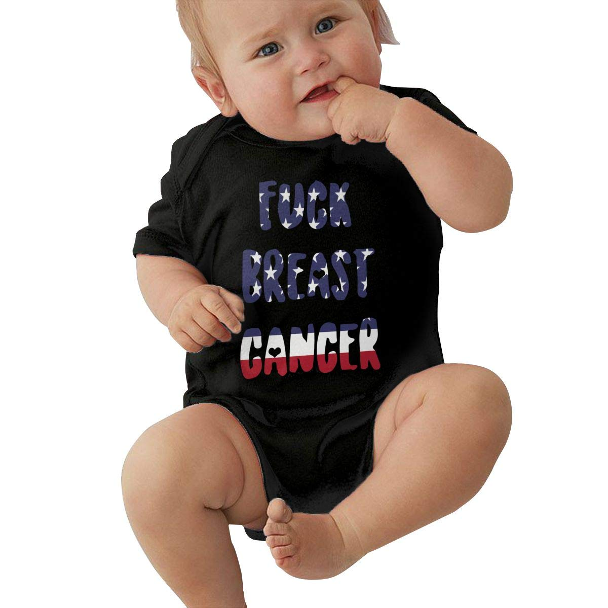 Infant Baby Girl Boy Fuck Breast Cancer USA Flag 1 Outfit Romper Jumpsuit Short Sleeve Bodysuit Tops Clothes
