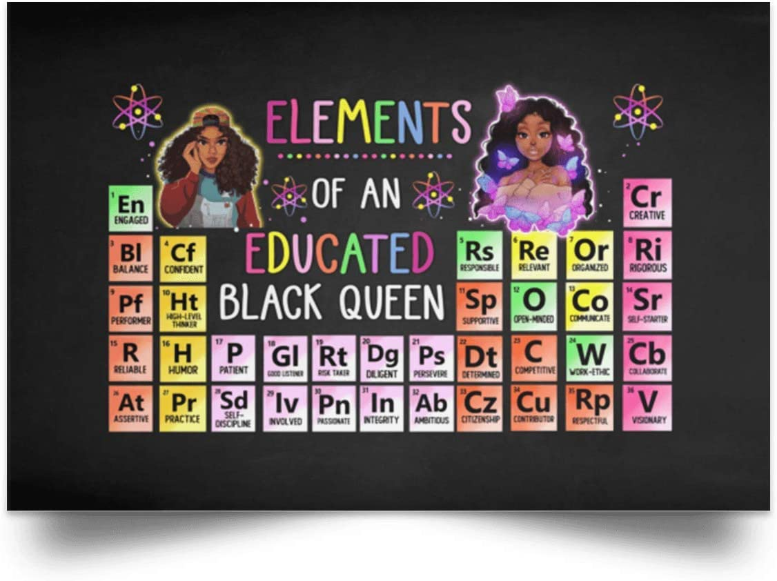 TeeWind Elements of an Educated Black Queen Wrapped Framed Canvas Prints - Unframed Poster - Home Decor Wall Art, 24
