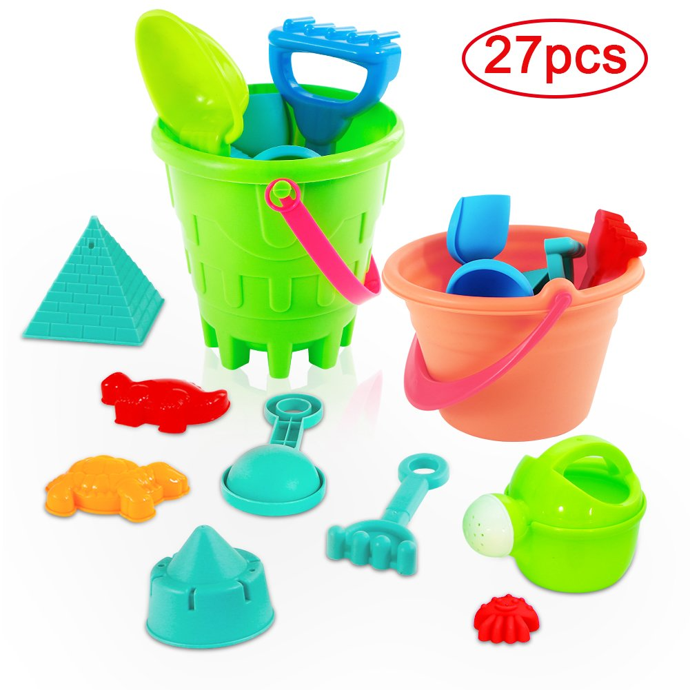Acekid Mini Sand Toys Set, 27pcs Seaside Sand Castle Bucket Spade Shovel Rake Playset, Beach Toys Kit for Kids and Children