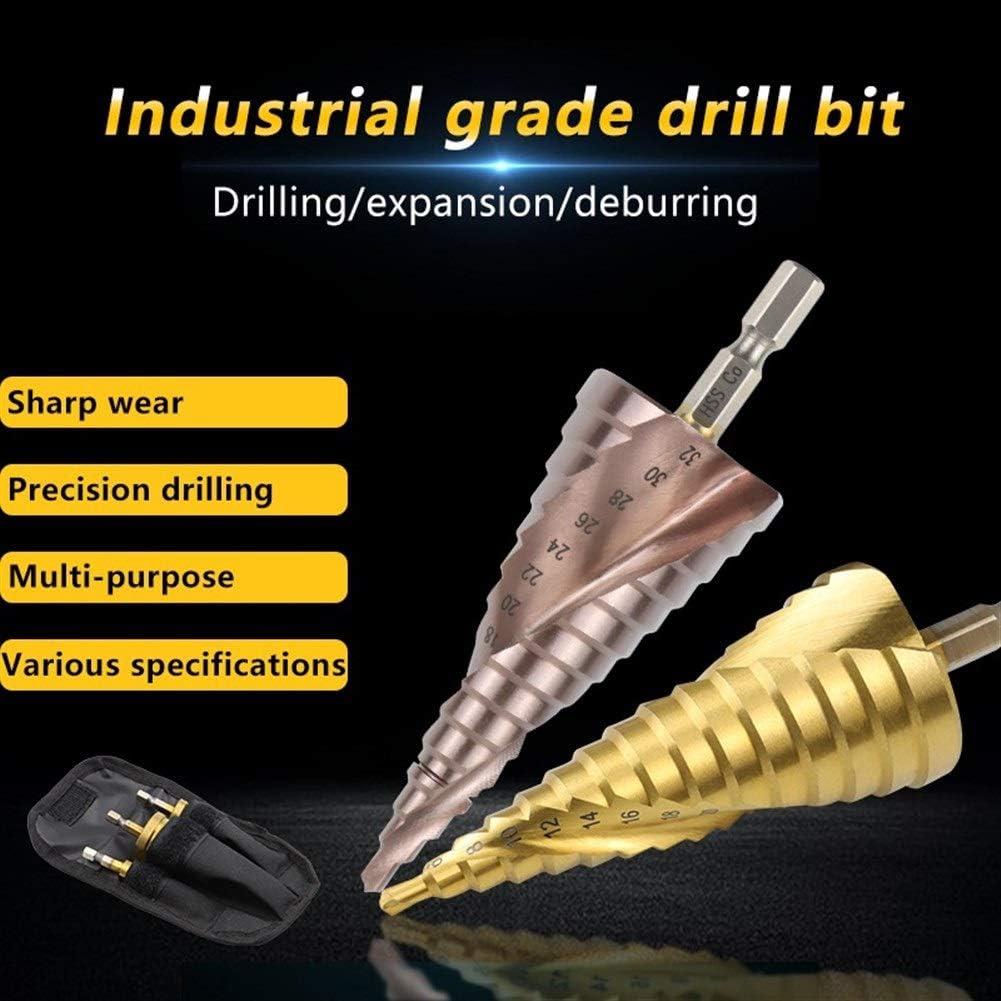 Jiyou 9-15 step Hex Shank 4-32mm Titanium HSS Step Drill Bit for Metal Spiral or Imperial Cone Drill Set Hole Cutter Cobalt M35 hard (Color : 1pc 4 32mm M35) Spiral 3 Piece Hss