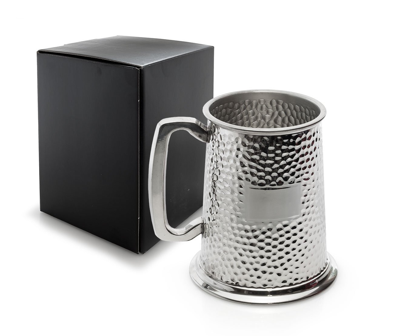 Personalised 1 Pint Pewter Hammered Finish Tankard/Mug with Engraving Plate - Engraved - Enter Your Custom Text Traditional Pewter