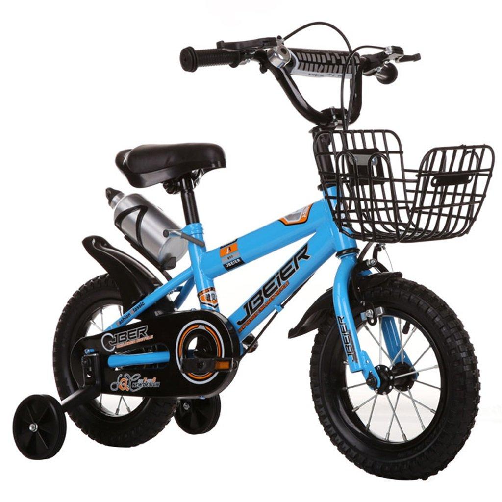 KANGR-子ども用自転車 子供用自転車3-6-8ボーイズとガールズ子供用玩具屋外用マウンテンバイクのハンドルバーとサドルはトレーニングホイールで調節可能な高さにできますウォーターボトルとホルダー-12 / 14/16/18インチ ( 色 : 青 , サイズ さいず : 18-inch ) B07BTYC46B 18-inch|青 青 18-inch