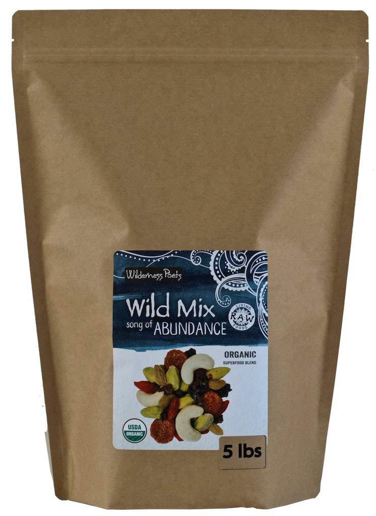 Wilderness Poets''Song of Abundance'' Wild Mix - Organic Raw Superfood Trail Mix - Bulk Trail Mix, 5 lb (80 oz)