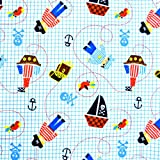 Babyville Boutique PUL Fabric, 64-Inch by 6-Yard Bolt, Little Pirates