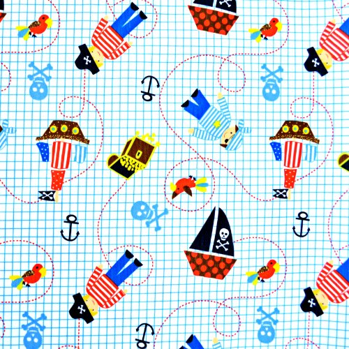 Babyville Boutique PUL Fabric, 64-Inch by 6-Yard Bolt, Little Pirates by Babyville Boutique
