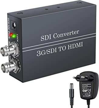 LiNKFOR Convertidor SDI a HDMI con Salida SDI Full HD 1080P con Fuente de Alimentación BNC a HDMI SDI IN HDMI out 3G-SDI HD-SDI SD-SDI a HDMI ...