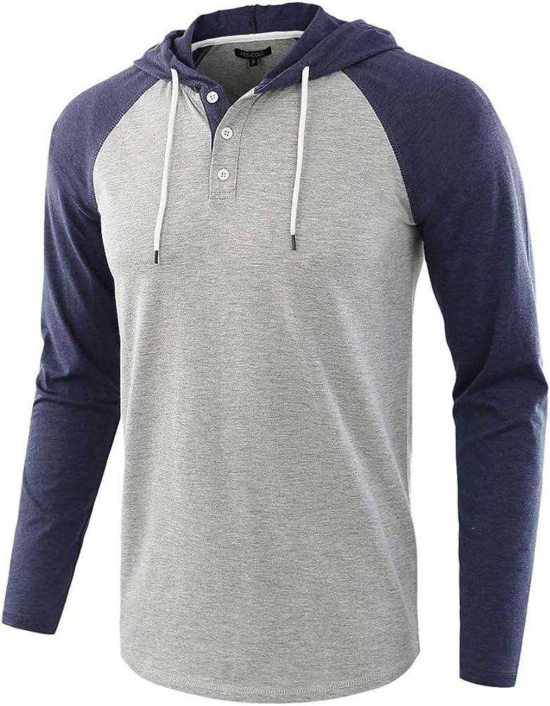 Minetom Sudaderas con Capucha Hombre Casual Manga Larga Botón Slim Fit T-Shirt Camiseta Cómodo Suave Camisa Blusa Tops Hoodie Sweatshirt