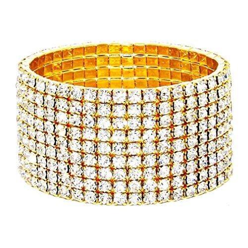 Affordable Wedding Jewelry Sparkling Nine Line Clear Rhinestone Crystal Gold Stretch Bracelet