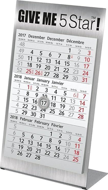 5 Star 962934 3 meses de mesa Calendario 2018: Amazon.es: Oficina y papelería
