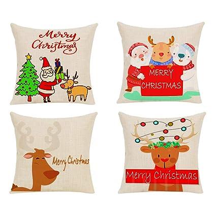 Amazon.com: Fresh Household Christmas Pillow Covers 4 Pack ...