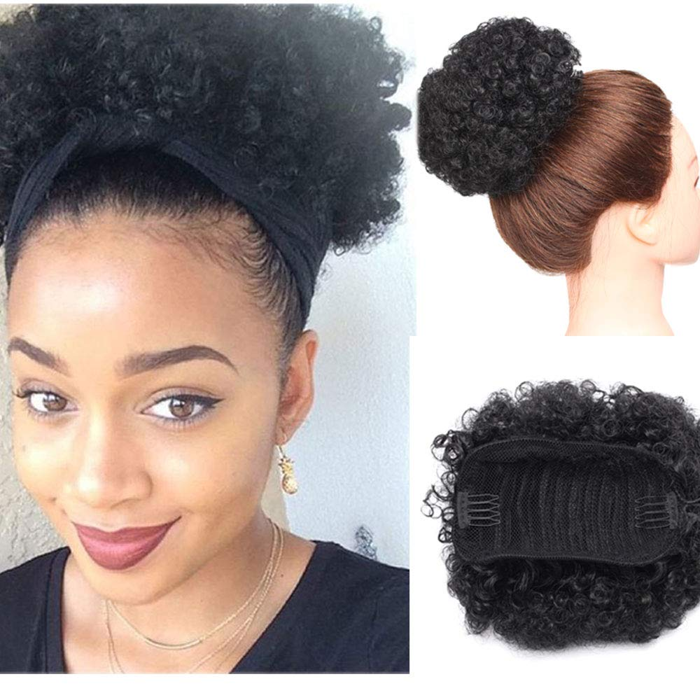 Amazon Com Afro Kinky Curly Updo Scrunchy Hair Bun Afro Puff Elastic Drawstring Ponytail With Clips For African American Black Women Synthetic Short Wrap Puff Ponytail Hair Extensions Dark Black Beauty