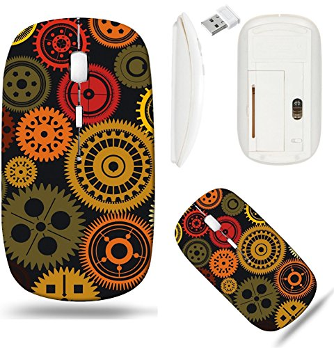 Liili Wireless Mouse White Base Travel 2.4G Wireless Mice with USB Receiver, Click with 1000 DPI for notebook, pc, laptop, computer, mac book IMAGE ID: 19566050 Seamless vector gear and cogwheel retro