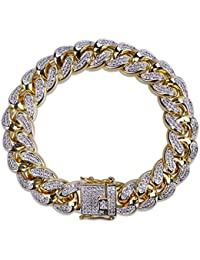 14mm 14K Gold Plated Hip Hop Iced Out CZ Lab Diamond Miami Cuban Link Chain Bracelet for Men and Women