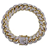 SHINY.U 14mm 14K Gold Plated Hip Hop Iced Out Miami Cuban Chain Bracelet for Men Women CZ Bling Jewelry (7.0)