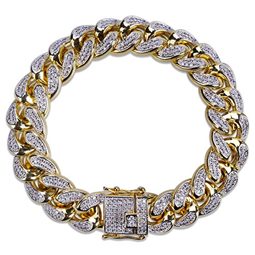 Chains Bracelets Diamond Gold - SHINY.U 14mm 14K Gold Plated Hip Hop Iced Out CZ Lab Diamond Miami Cuban Link Chain Bracelet for Men and Women(Gold,7)