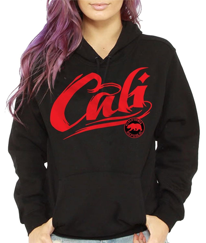 Women's Cali Hoodie Pullover Sweatshirt California Republic Bear Red Cute urban