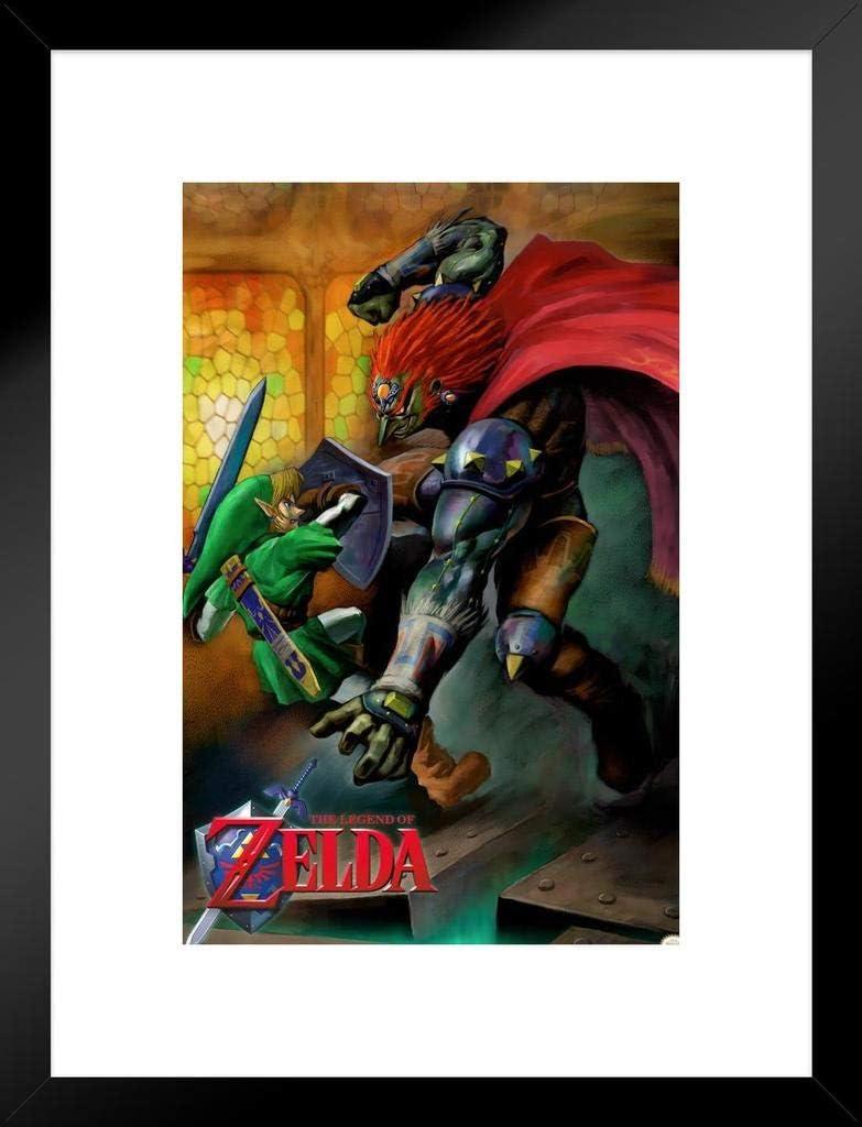 Pyramid America The Legend Of Zelda Ocarina Of Time Link Vs Ganondorf Nintendo Fantasy Video Game Matted Framed Poster 20x26 Inch