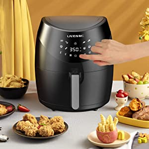 LIVEN Black XL Air Fryer Hot Air Oven Digital Air Fryer Large 8-IN-1 Oilless Air Fryer 5.8 Quart - 6 QT Family Pro