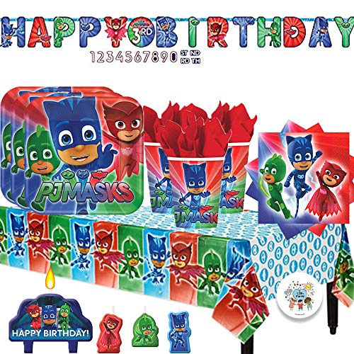 PJ Masks Birthday Party Supply Pack with Plates Cups Napkins Tablecover Birthday Candles Add-An-Age Birthday Banner and...