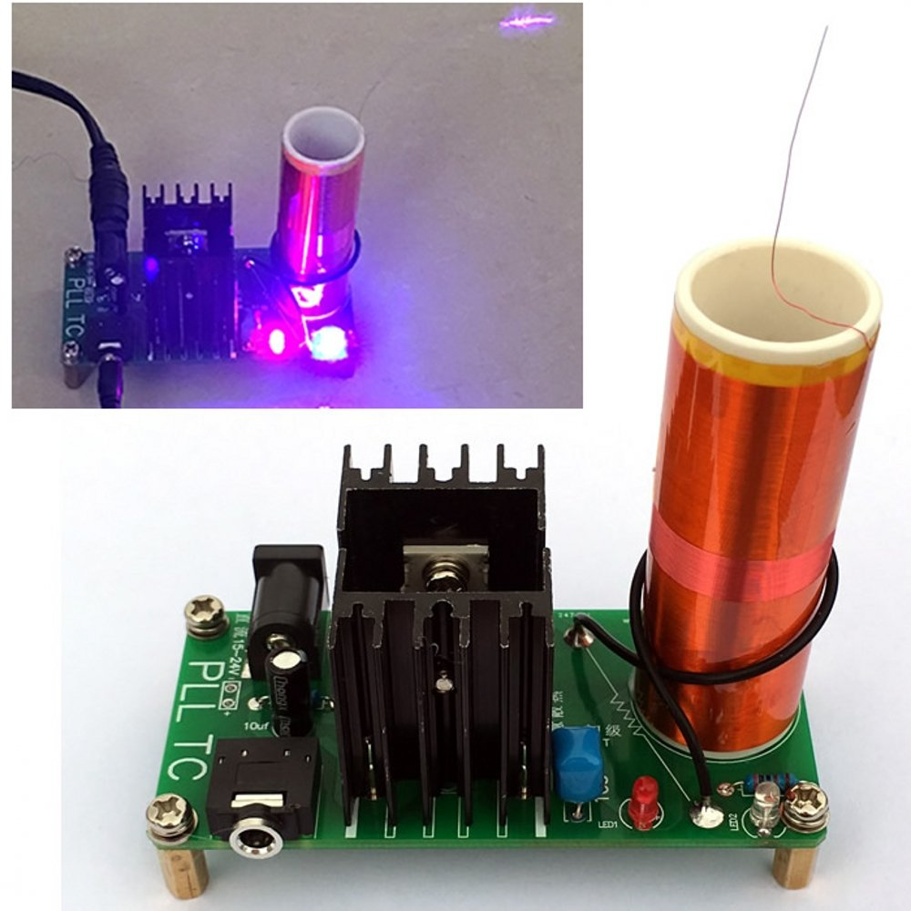 Jzk Diy 15w Mini Tesla Coil Parts Kit Plasma Speaker Module Set For Shaped Flash Light Lamp Electronic Circuit Board Production Suite Music Transmission Toy Toys Games