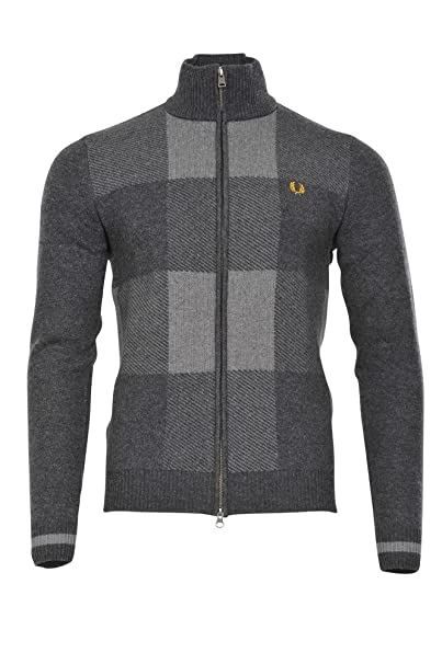 Fred Perry Chaqueta de sudor Hombre Gris normal lana casual S