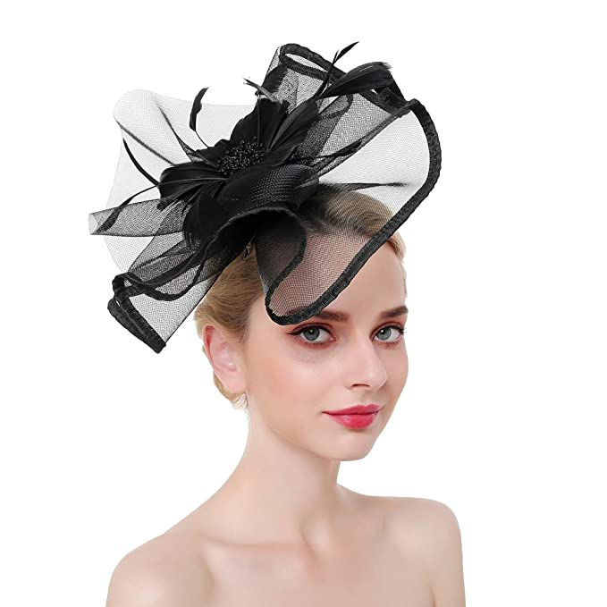 Fascinator Hats for Women Pillbox Hat with Veil Fascinators for Women  Cocktail Black Funeral 3fa39730e64c
