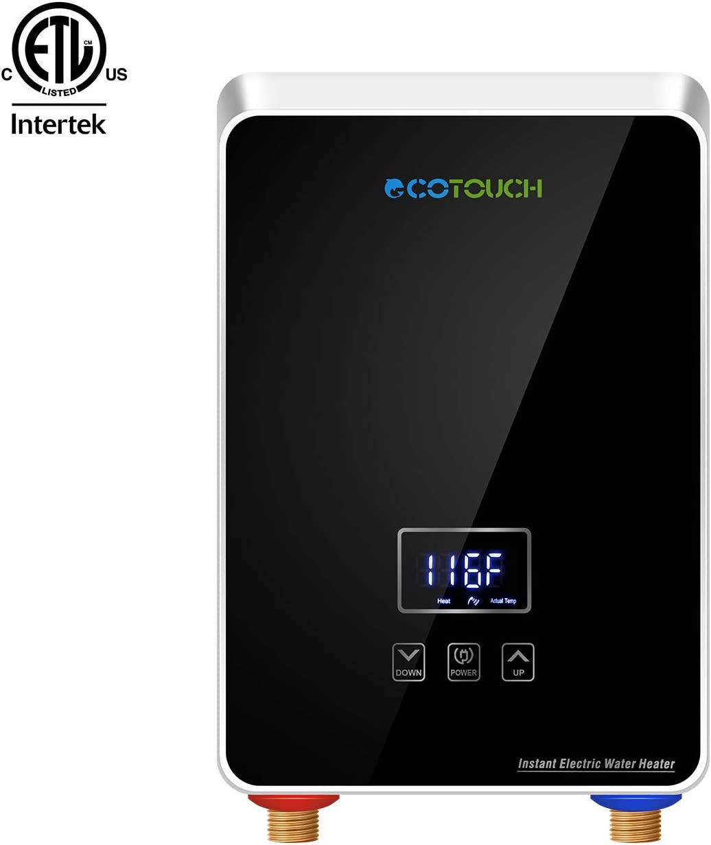 ECOTOUCH Tankless Water Heater Electric, 1.5 GPM On Demand Hot Water Heater Digital Dispaly Energy Efficient 5.5kW at 240V, Black