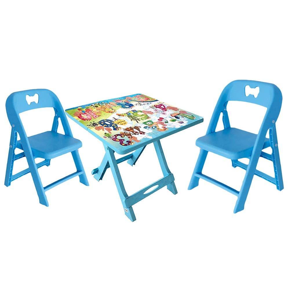 bleu D LIANGJUN Ensembles De Tables Et Chaises portable Pliable Enfant Table à Jouets Apprendre Jardin D'enfants Plastique, De Plein Air, 2 Couleurs (Couleur   bleu, Taille   C)