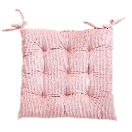 Nikgic Cojines para Sillas Corduroy Versión Gruesa Cojín de Silla Super Suave Silla de Oficina (Rosa)