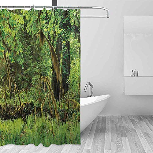 Xlcsomf Light Shower Curtain Rainforest Trees with Moss Natural Paradise Silence in The Wild Nature Relaxation Illustration Daily use Green,W63 xL72