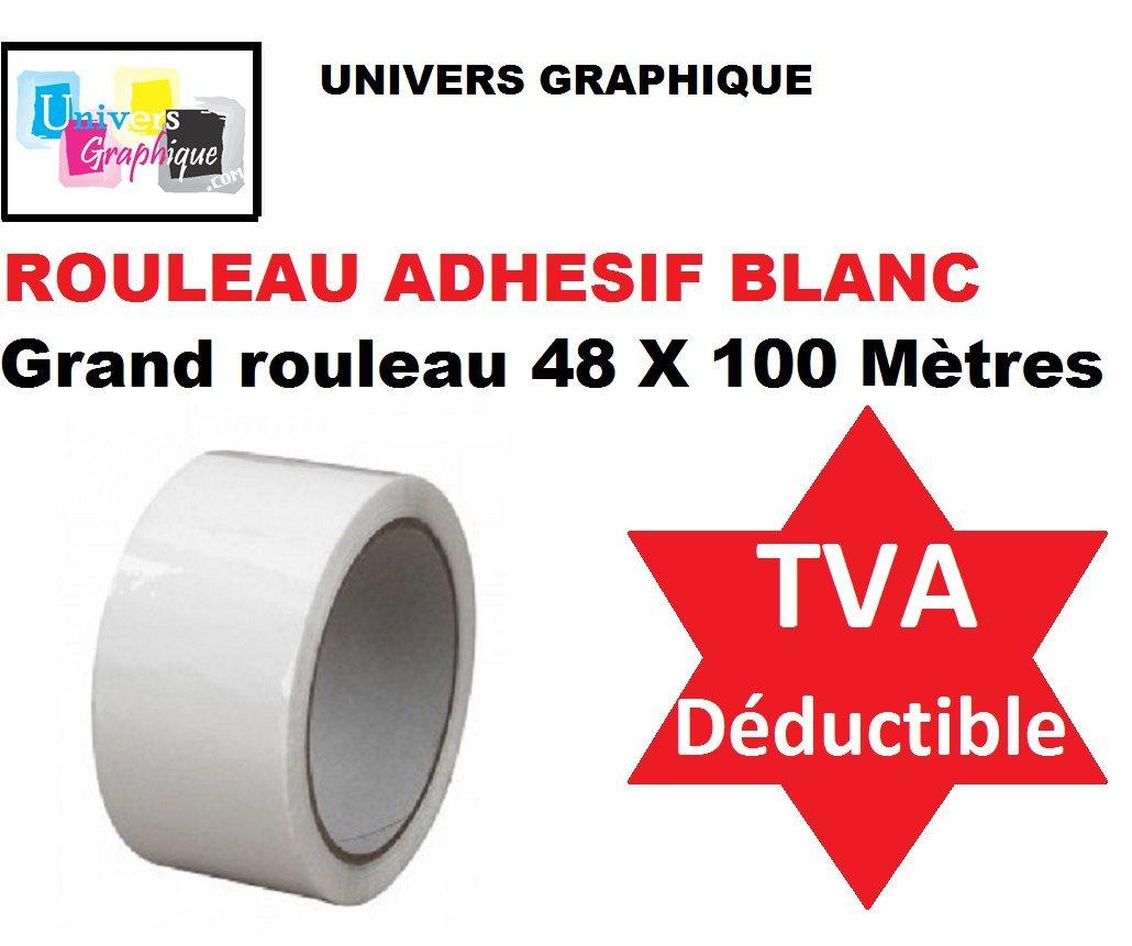 3 Rouleaux ruban adhé sif emballage BLANC pp silencieux Rouleau de 48 mm x 100 mè tres (40% de plus que les 66 mè tres long) ref UGRANB100-3 UNIVERS GRAPHIQUE