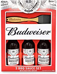 Marketplace Brands Budweiser Grilling Set - 3 BBQ Sauces with Basting Brush