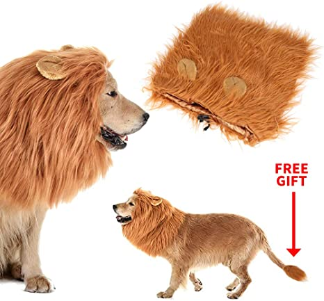 Calevin Disfraz de Melena de león Dog Peluca de león con Oreja ...