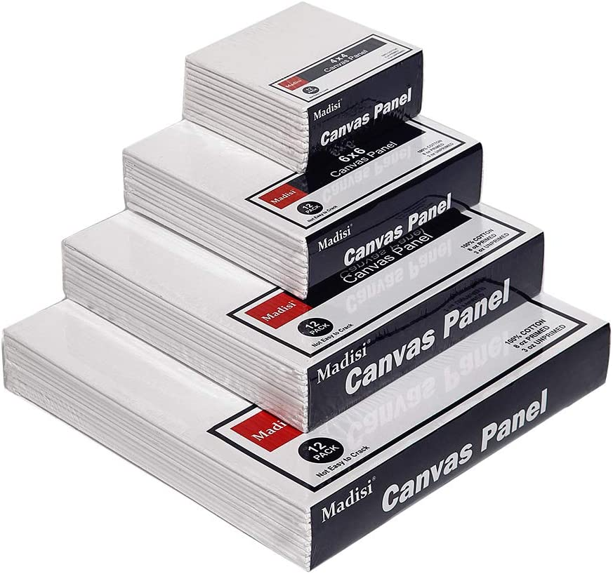 Madisi Painting Canvas Panels Multi Pack 9x12 11x14 8 of Each 8x10 5x7 32 Pack
