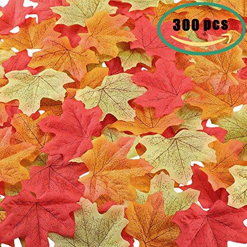 Gtidea 300pcs Autumn Fall Maple Leaves Artificial Silk Leaf Home Garden Party Ceremony Wedding Table Centerpieces Decor Mixture Colors