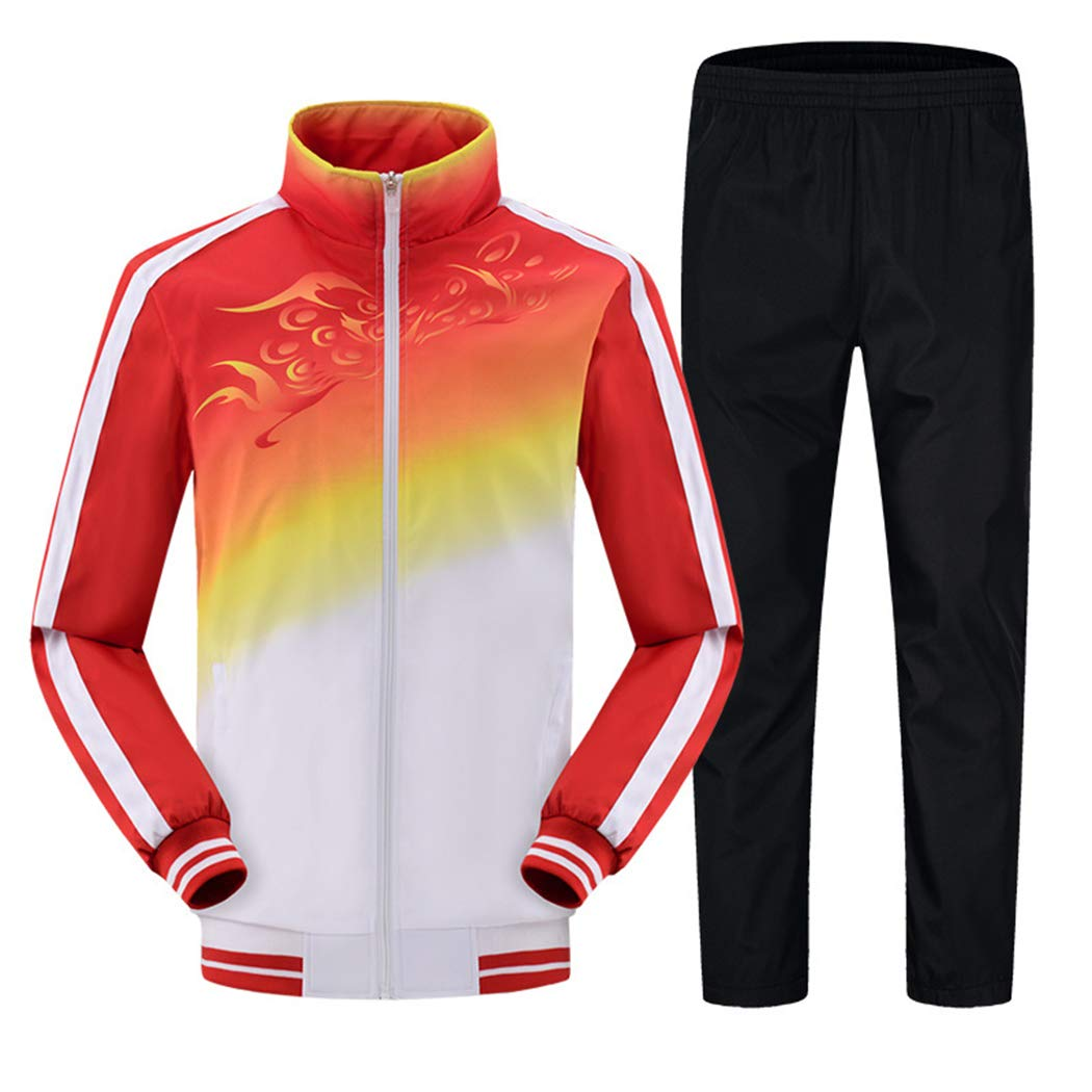 Modern Fantasy Men's Athletic Striped Tracksuit Joggers Running Sports Style Sweat Suits Set Red S by Modern Fantasy