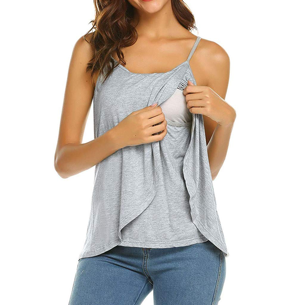 Women's Maternity Nursing Tank Top Sleeveless Cami Comfy Breastfeeding Clothes (M, Gray)