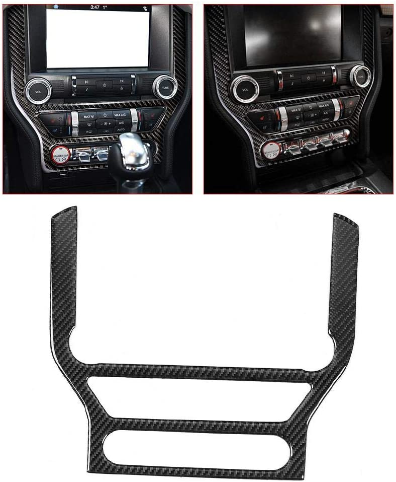 Gorgeri Carbon Fiber Car Center Console Panel Frame Decor Cover Car Multimedia Control Panel Fit for Ford Mustang 15-19 Left Drive