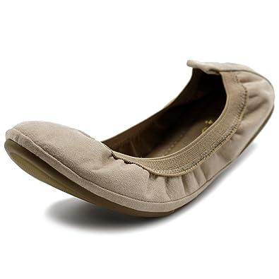 372831898 Amazon.com   Ollio Women's Shoes Faux Suede Comfort Ballet Flat   Flats
